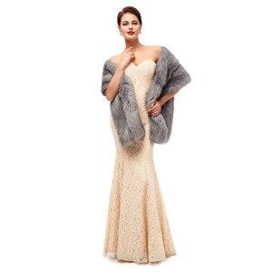 Image 3 - Gray Wedding Fur Shawl Wedding Dress Wrap Adults Formal Jackets Luxury Bridal Cape Accesories Bride Women Fur Bolero 2020