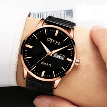 купить 2019 New Fashion Quartz Clock Mens Watches Rose gold Top Brand Luxury Watch For Men Elegant Waterproof Wrist Watch Reloj Hombre по цене 715.79 рублей