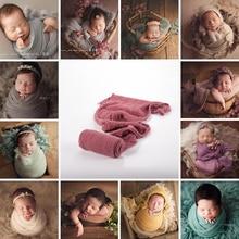 Baby Photography Blanket Baby Swaddle Wrap Newborn Photography Props Summer Folds Seersucker Soft Cotton Blanket 40*180Cm