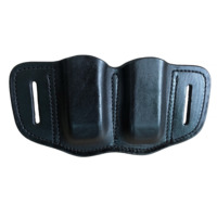 Gunflower Tactical OWB Open Top Magazine Pouch Leather Pistol Double Stack 9mm Concealed Carry Mag Holder