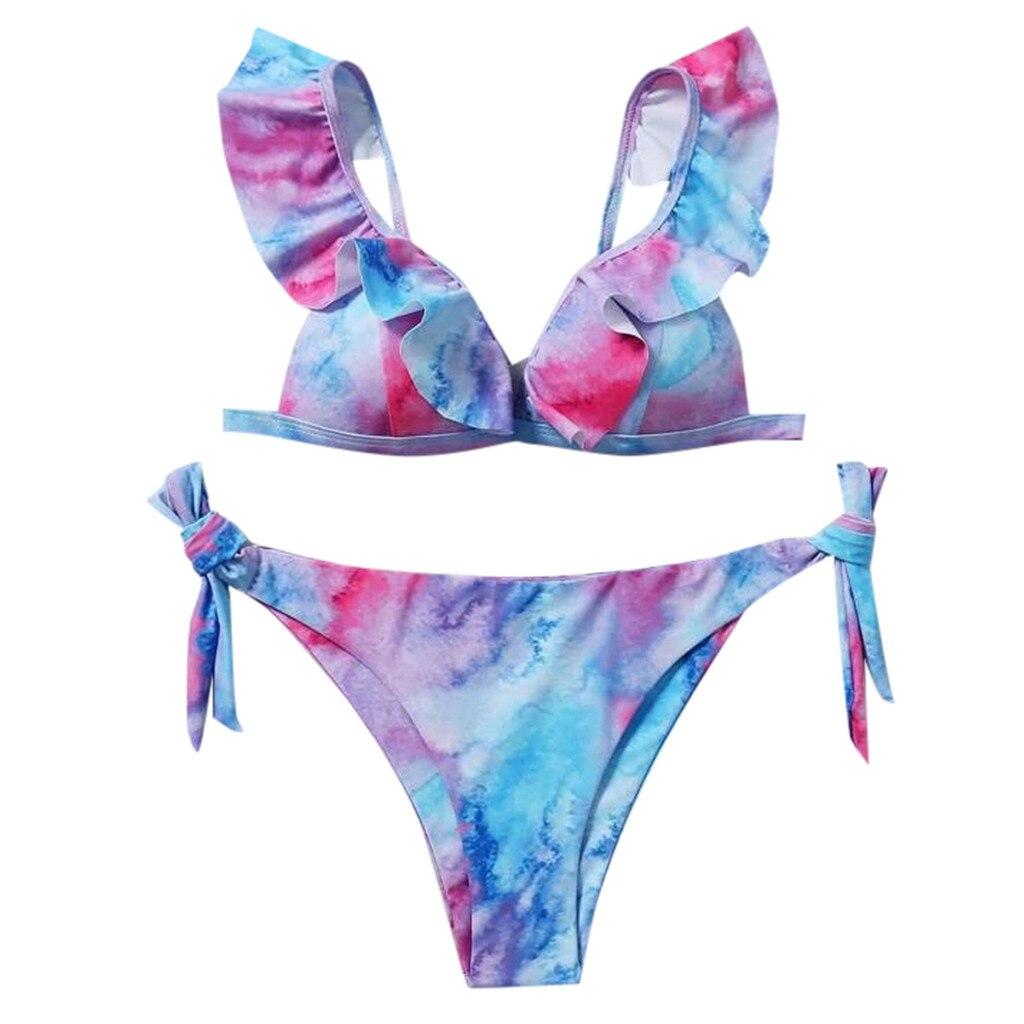 Sexy Tie-Dye Print Bikinis Striped Swimsuit Women Micro Bikini Set Swimwear Brazilian Beachwear New Bathing Suit купальник 1