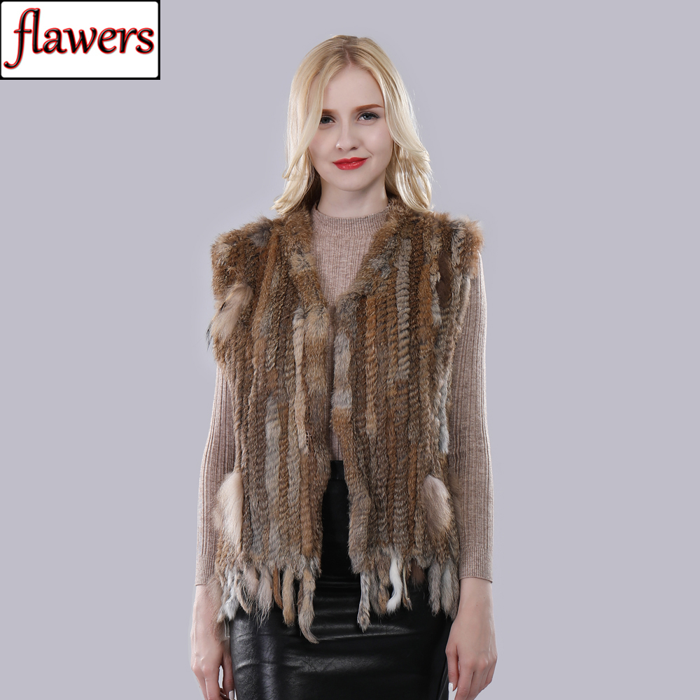 Vest Coat Tassel Rabbit-Fur Real-Knitted Women Sleeveless Spring Fashion Gilet Autumn