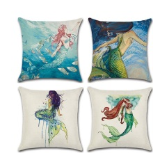 New fundas cojines Decor Watercolor Mermaid Throw Pillow Cushion Covers kussenhoes Pillowcase housse de coussin Decorative Sofa