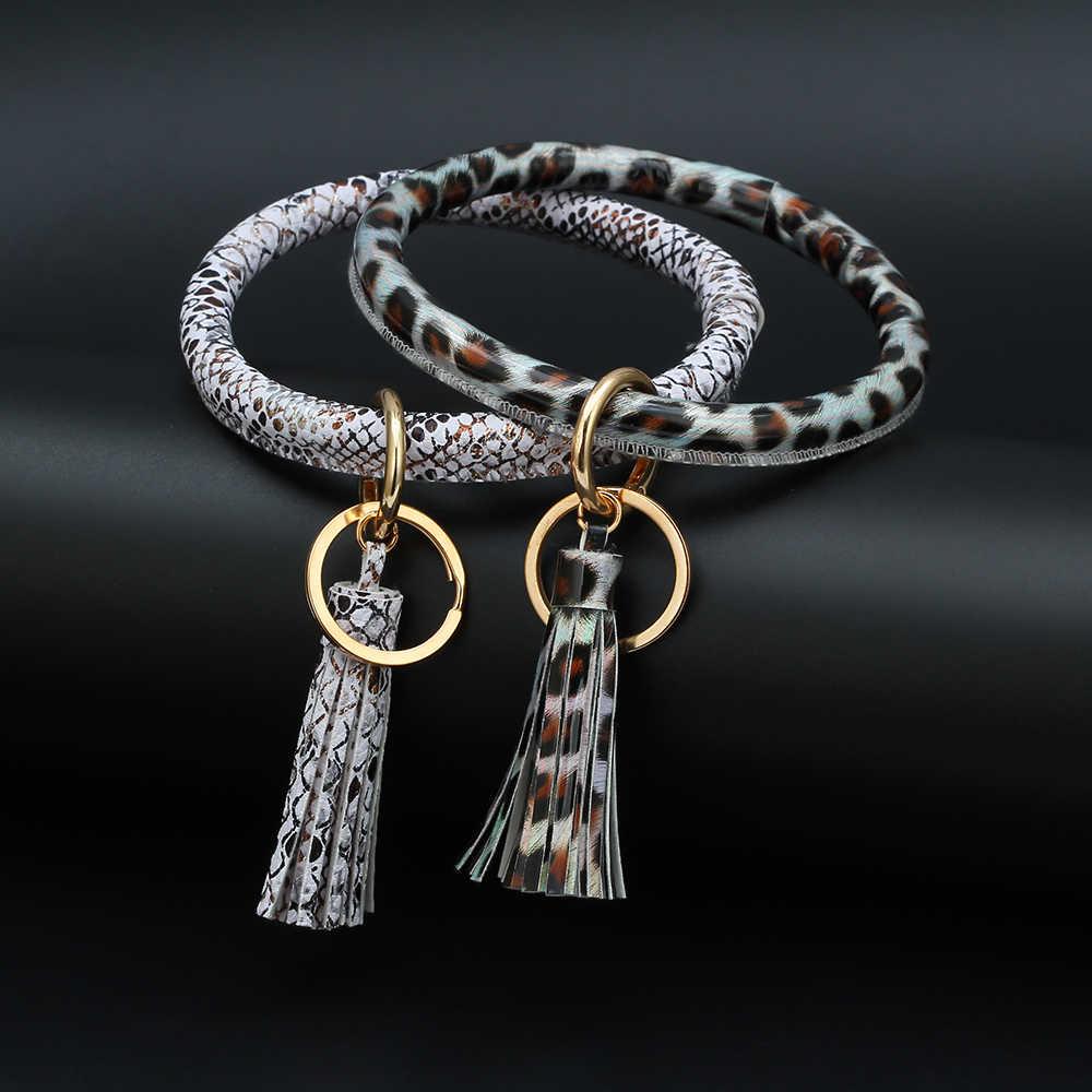 Meiperles cuir PU 1pc 6 Design gland grand O cercle porte-clés femmes bracelet porte-clés fille porte-clés dragonne pour les femmes