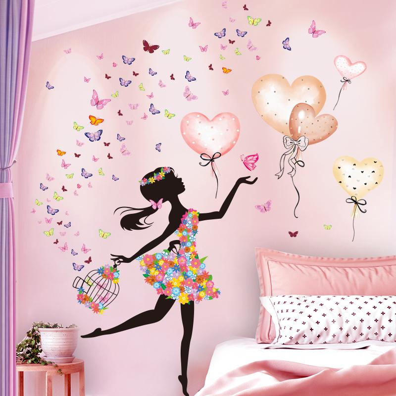[shijuekongjian] Cartoon Fairy Girl Wall Stickers DIY Balloons Butterflies Wall Decals for Kids Rooms Baby Bedroom Decoration