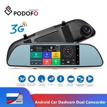 Podofo Android Xe Dashcam Dual Máy Quay Camera Cảm Ứng Wifi GPS Bluetooth Đậu Xe Gương Video Registrator