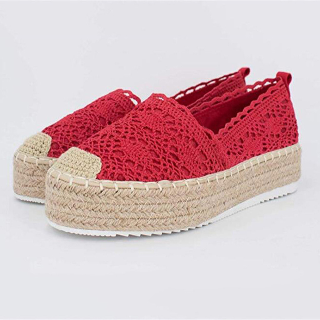 Adisputent Spring Women's Hollow Platform Casual Flat Shoes  Solid Color Lace Soft Shoes Lady Breathable Wedge Espadrilles 2019
