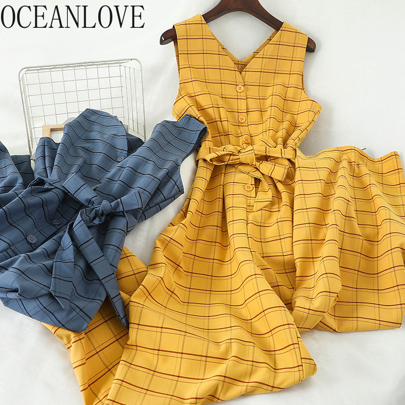 OCEANLOVE Plaid Jumsuits Women V Neck Lace Up Bow Wide Leg Office Lady Combinaison 2020 Spring Summer Ropa Mujer Casual 13886