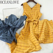 Oceanlove Plaid Jumsuits Vrouwen V-hals Lace Up Boog Brede Been Office Lady Combinaison 2020 Lente Zomer Ropa Mujer Casual 13886(China)