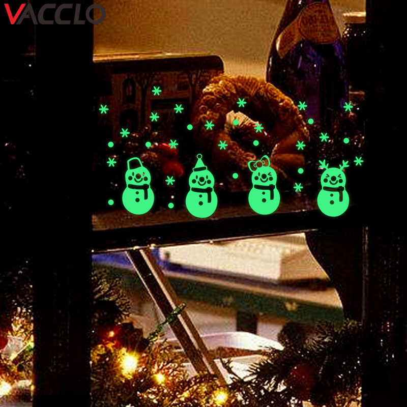 Vacclo Christmas Little Snowman Luminous Wall Sticker Christmas Decor for Home Window Decoration Sticker Living Room Wall Decor