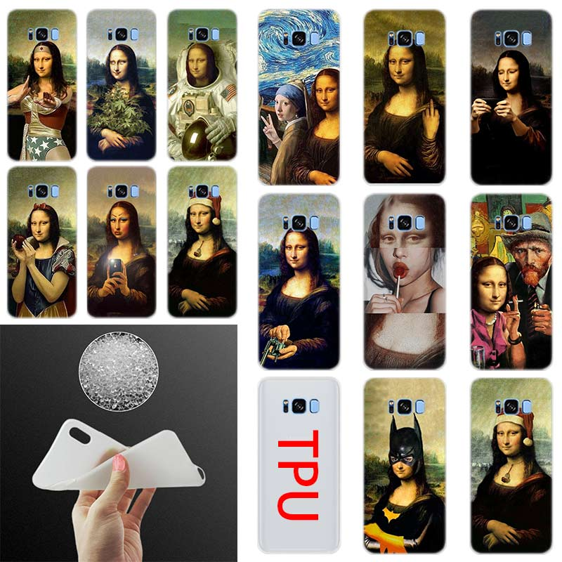 Mona Lisa <font><b>funny</b></font> Spoof Silicone Cover Phone <font><b>Case</b></font> For <font><b>Samsung</b></font> S11 S10 S8 S9 Plus S7 S6 Edge <font><b>Note</b></font> 10 <font><b>9</b></font> Funda S20 Phone <font><b>Cases</b></font> image