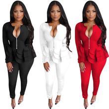 women's suit two piece set office women long sleeve