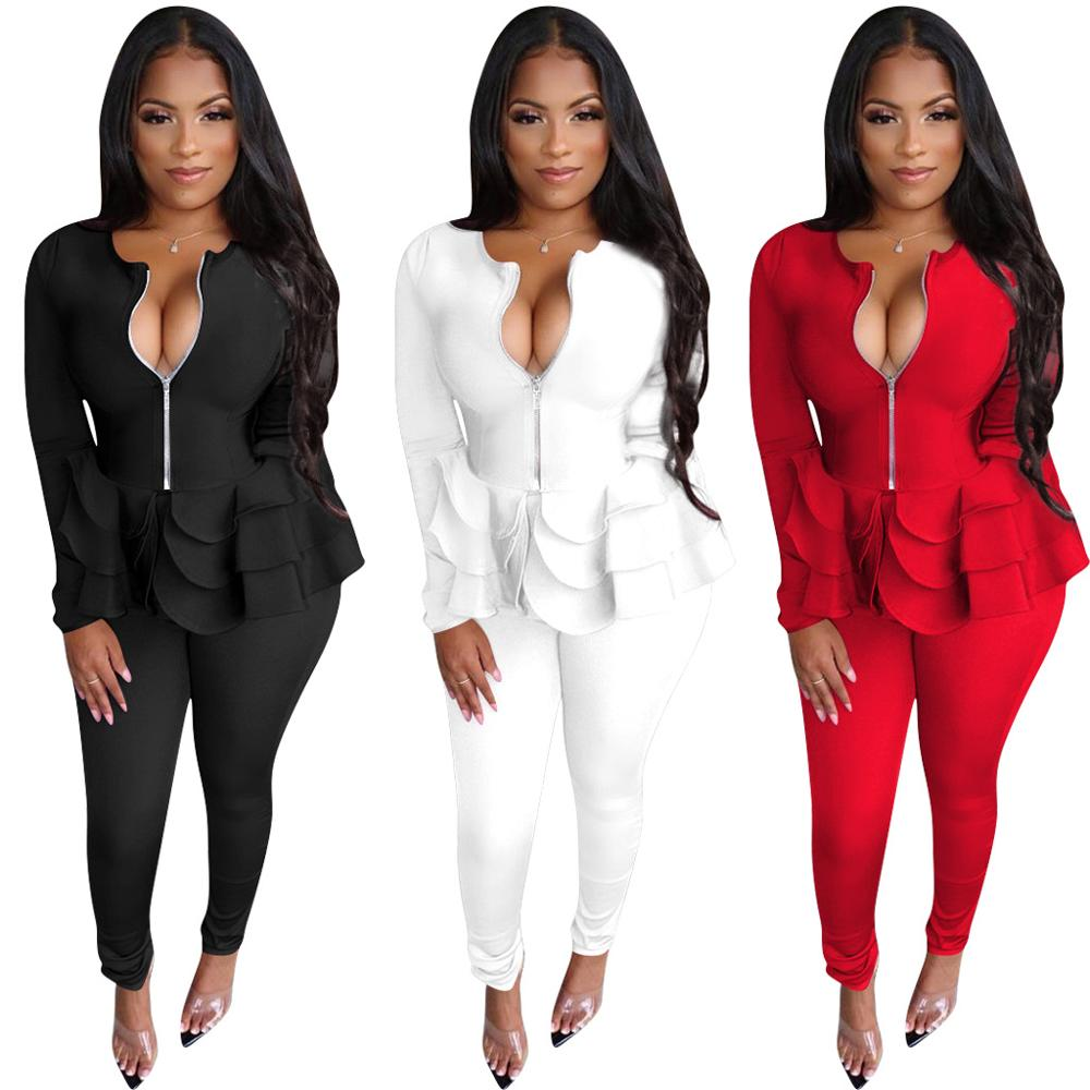Women's Suit Two Piece Set Office Women Long Sleeve Suit Pants 2 Piece Set Female Winter Two Pieces Sets
