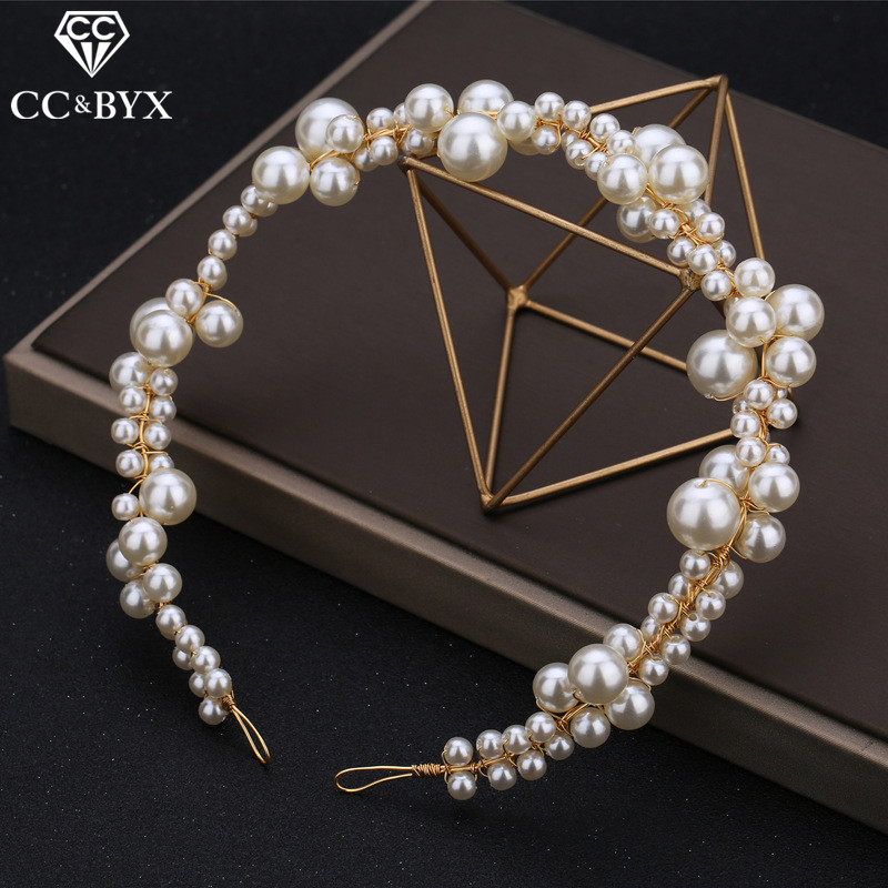 CC Pearl Headband Hairband Crown Tiara Wedding Hair Accessories For Women Romantic Full Pearls Head Band Party Hairwear M120