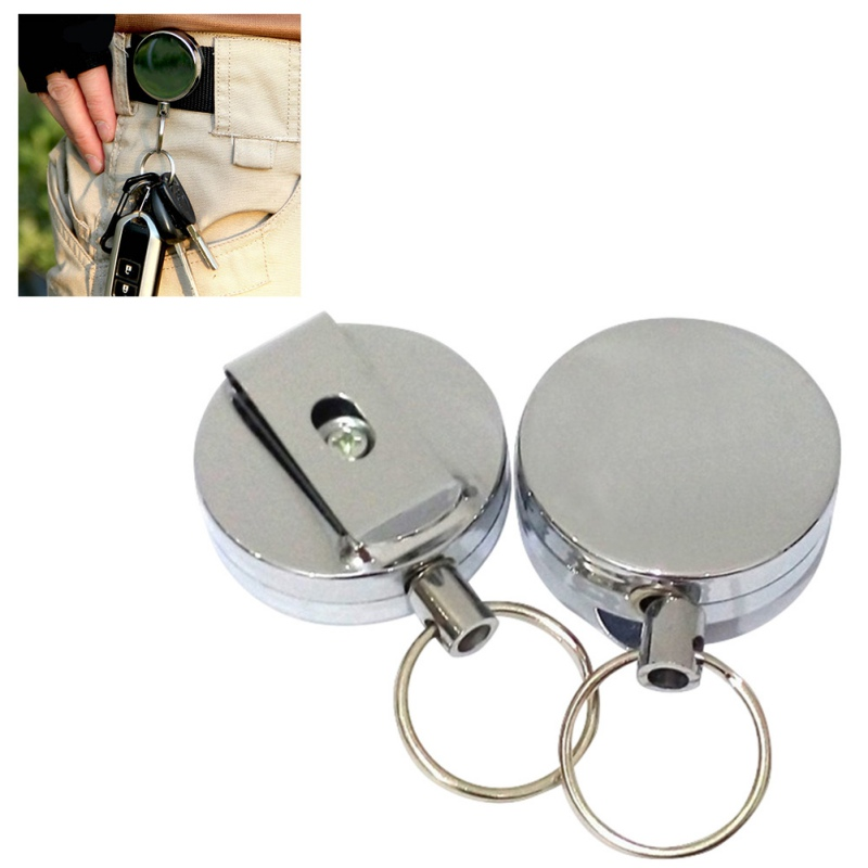 Mini Self Defense Key Ring Metal Retractable Steel Wire Rope Key Chain Alarm Anti Lost Safety Alarm Key Chain