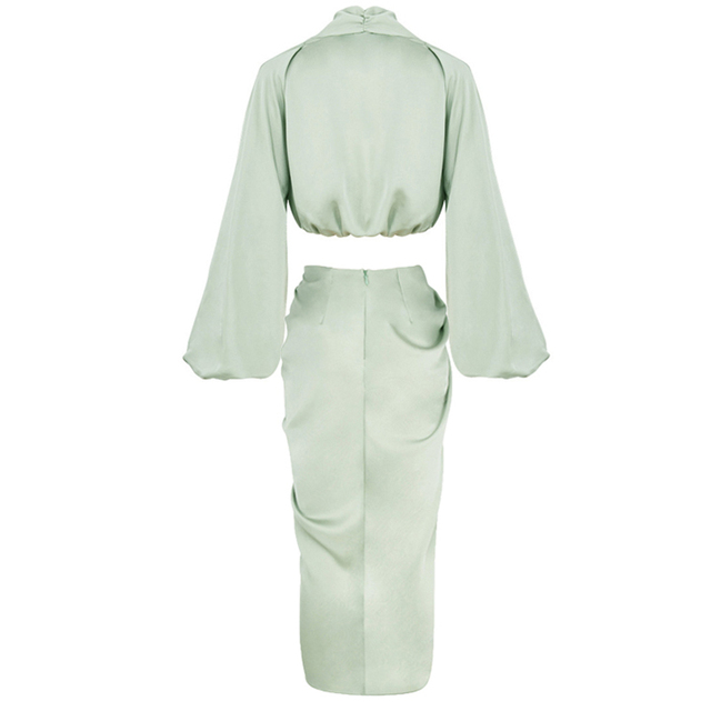 Tobinoone Sexy Long Sleeve Autumn Party Dress Women Satin V Neck High Slit Long Dress Elegant Bodycon Pleated Dresses 2020 6