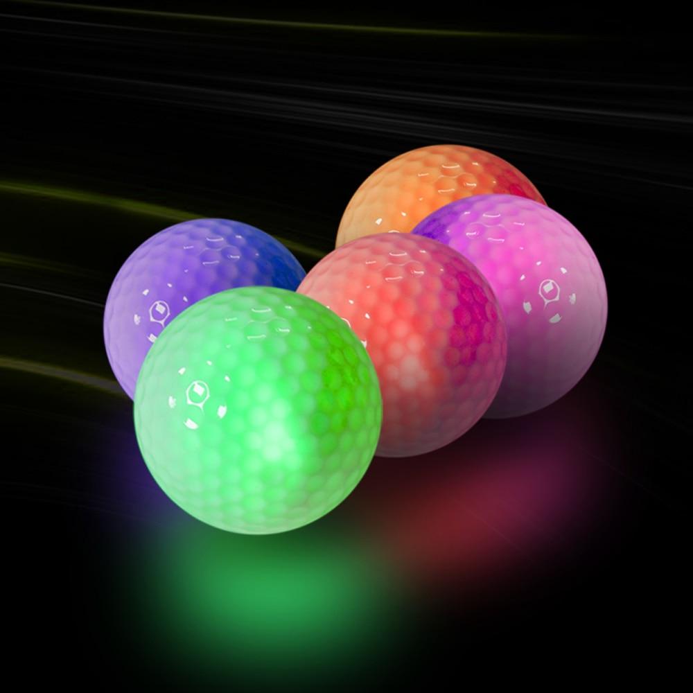 5 Colors Luminous Flashing Golf Balls Light Up For Night Training  Sports Shining Ball Glow In The Dark  Long Distance Shooting