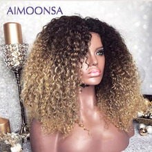 Moğol Afro Kinky kıvırcık peruk 13x4 Ombre peruk insan saçı 250 yoğunluk renkli dantel ön peruk doğal saç çizgisi Remy Aimoonsa
