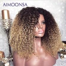 Mongolischen Afro Verworrene Lockige Perücke 13x4 Ombre Perücke Menschliches Haar 250 Dichte Farbige Spitze Vorne Perücken Natürlichen Haaransatz remy Aimoonsa