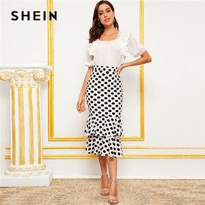 Image 5 - SHEIN Black And White Polka Dot Layered Fishtail Hem Elegant Skirt Women 2019 Autumn High Waist Wide Waistband Party Midi Skirts