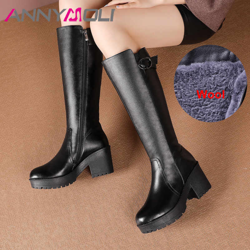 ANNYMOLI Warm Snow รองเท้าผู้หญิงหนังหนารองเท้าส้นสูงรองเท้าเข่าซิปรอบ Toe รองเท้าผู้หญิงฤดูหนาวขนาด 42
