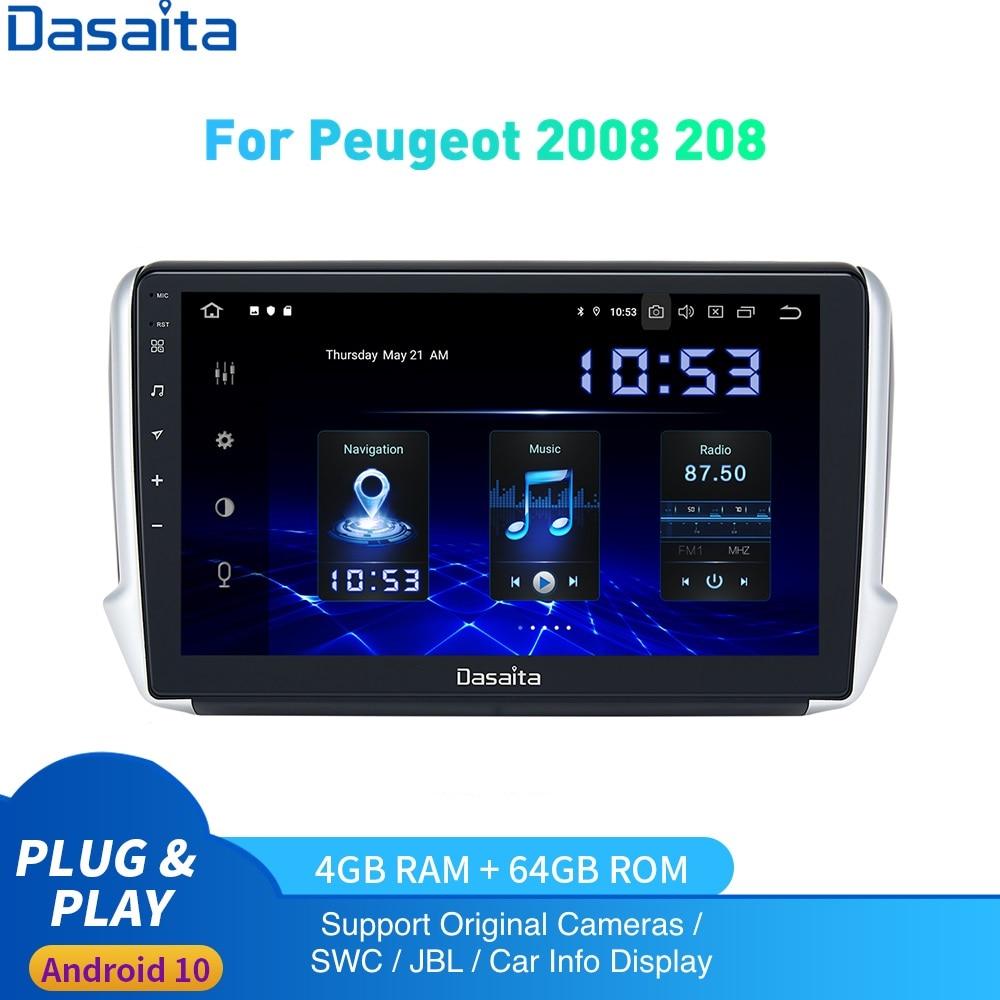 Radio Multimedia con Android 10,0 para coche, Radio con navegador, 1 Din, IPS, HD, 2008x208, Carplay, 4Gb + 64Gb, para Peugeot 2012 2019 1280-720