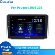Android 10,0 Авто Радио 1 Din для Peugeot 2008 208 мультимедиа 2012 - 2019 1Din DSP HD IPS 1280*720 Carplay 4 Гб + 64 ГБ