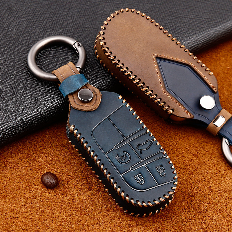 Leather Car Key Cover Case For Jeep Grand Cherokee Compass Patriot Dodge Journey Chrysler 300C Renegade Fiat Freemont 2018 2019