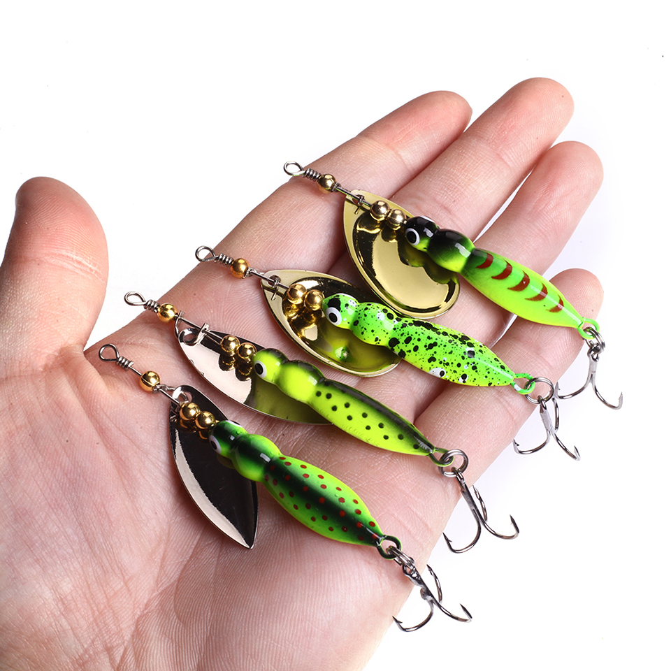 4 Colors 15g 70mm Insects Fishing Lure Spoon Bass Artificial Spinner Bait Metal Pike Fishing Hooks Sinking Lure Pesca