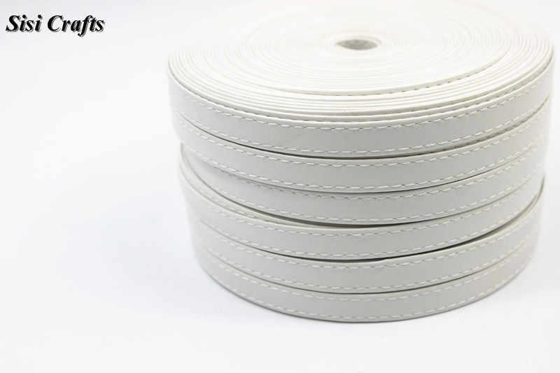 Sisi 工芸品テープ 1 センチメートルフラットフェイク革ホワイトステッチリボン pu コードバイアス 10 16 30 ミリメートル diy のヘア弓手作り帳プランナーアクセサ