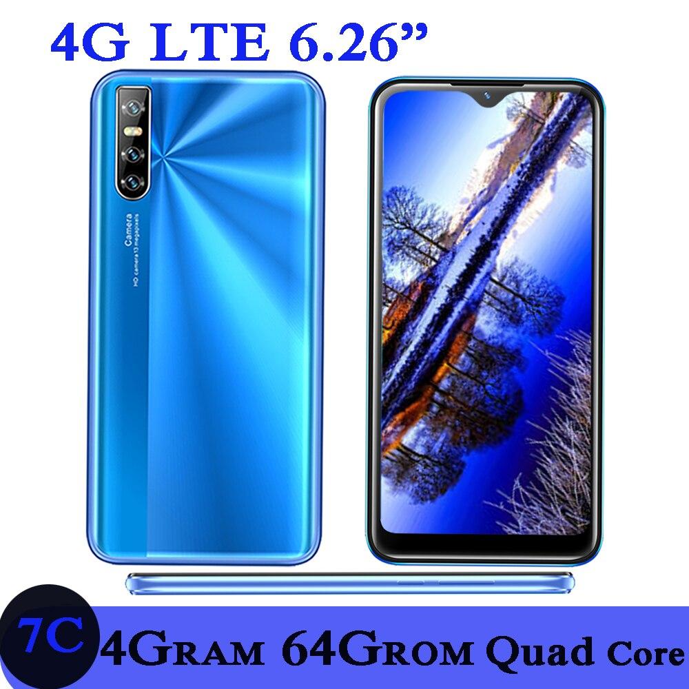 7c 64g rom 4g ram 4g lte smartphones quad core 13mp face id 6.26 Polegada gota de água tela desbloqueado celulares android celular