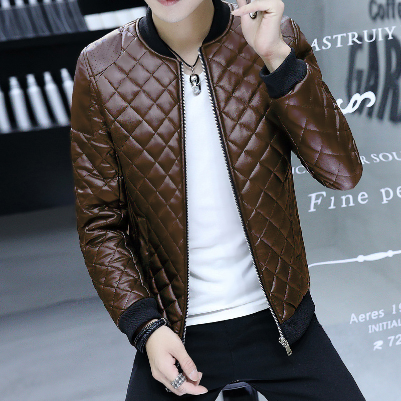Men Casual Leather Jacket Fashion MEN'S Coat Thin Leather Coat Teenager Korean-style Autumn And Winter Jacket Coat Men's