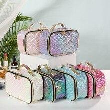 New fashion pu portable cosmetic case makeup bag casual squa