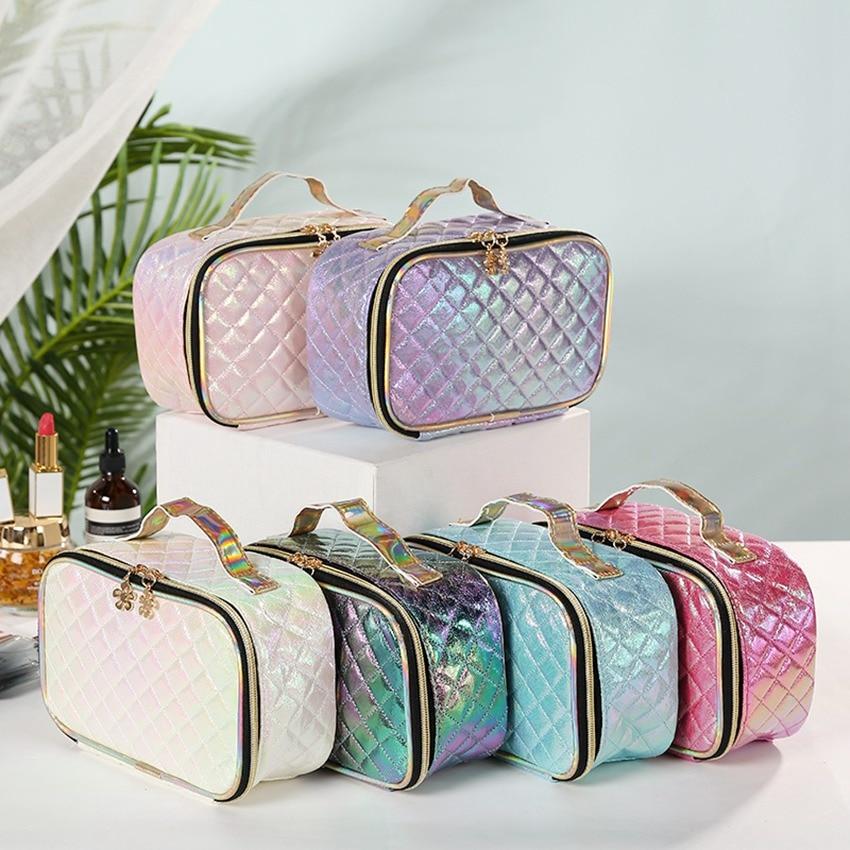 New Fashion Pu Portable Cosmetic Case Makeup Bag Casual Square Lattice Women Storage Wash Bag
