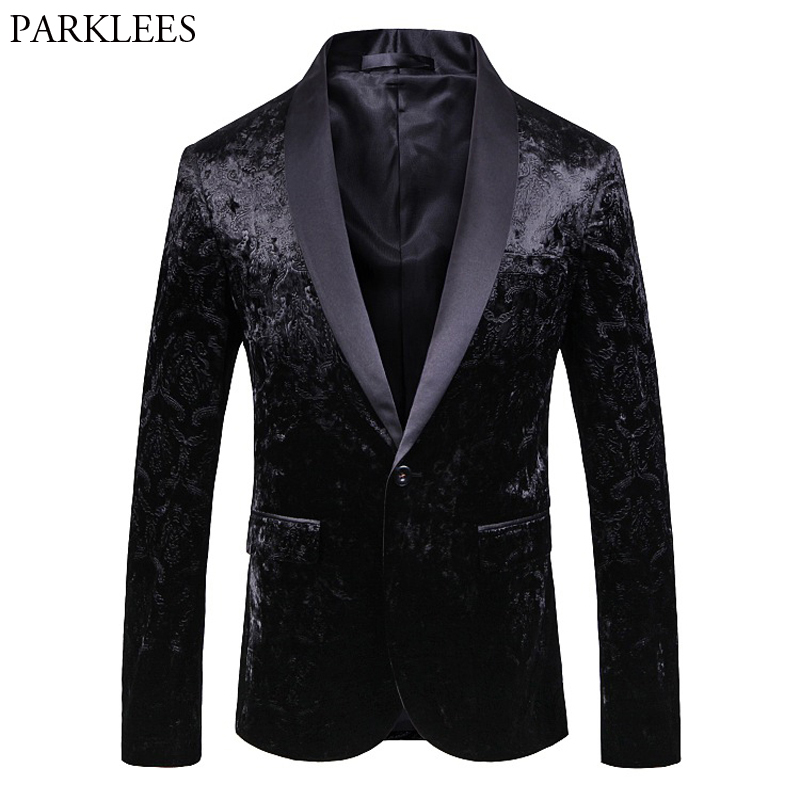 Men's Black Velvet One Button Dress Blazer Floral Brozing Shawl Collar Stylish Dinner Suit Jacket Men Wedding Blazer Prom Tuxedo