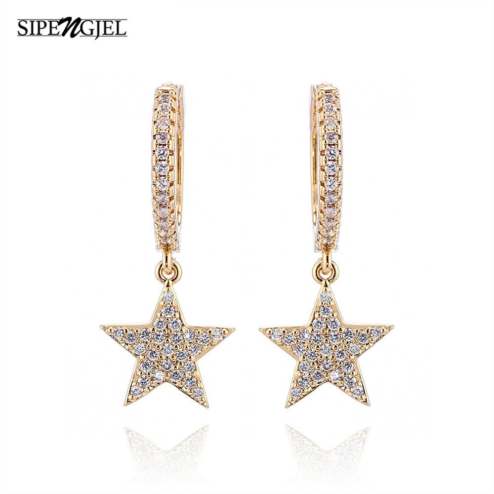 Fashion Star Earrings Top Quality Cz Crystal Gold Hoop Earrings For Women girls lady Fashion Jewelry серьги звезды 2020
