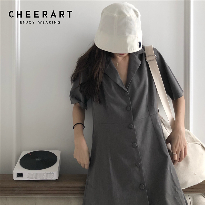 Cheerart Blazer Dress Summer Short Sleeve A Line Tunic Button Dress Korean Style Women Black Grey Mini Dresses Clothes