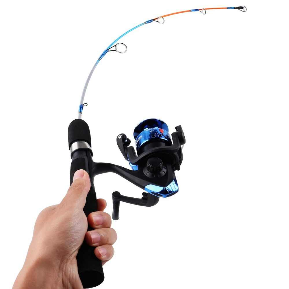 Sougayilang アイス釣竿リールコンボ 64 センチメートルポータブルミニと氷の釣り竿 3bb 冬釣りリールコンボ釣りタックル