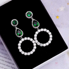 Beilan Korean Round Teardrop Green/Clear Cubic Zirconia Long Pendant Earrings for Women Girls Big Earing Fashion Jewelry YEA063 extremely attractive dangling earring blue green and clear oval cut stones of cubic zirconia big round dangle pendant earrings