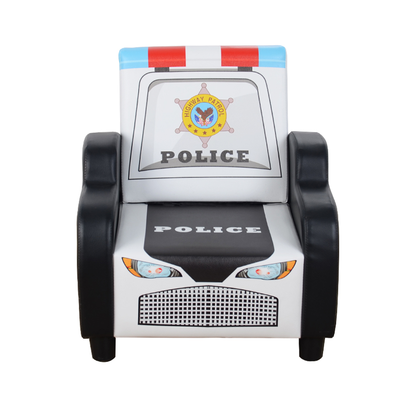Children's Sofa Seat Cartoon Boy Police Car Single Seat Leather Small Sofa Mini Cute Lazy Couch
