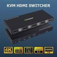 Caja de Metal Ultra HD de 18Gbps 4K, 60Hz, y 1 salida 4 entradas, KVM, interruptor de pantalla, teclado compartido y AM-KVM401 de ratón