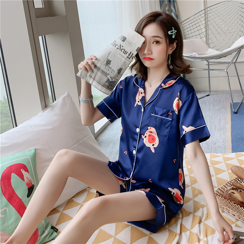 2019 Summer New Style Imitated Silk Pajamas WOMEN'S Short Sleeved Shorts Cardigan Homewear Set 350 # M -Xxl