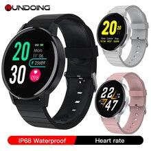 RUNDOING S4 kadın akıllı saat erkekler HD tam dokunmatik ekran kalp hızı kan basıncı oksijen monitörü moda spor smartwatch erkekler