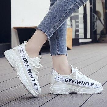 2019 kobiet buty jesień białe buty trampki kobiety moda marka Retro platformy buty buty damskie oddychające siatkowe trampki