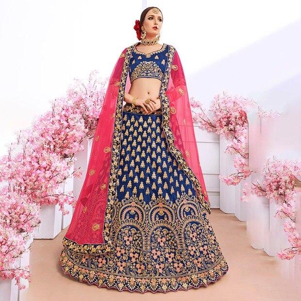 Luxurious Indian Dress Lehenga Choli India For Women Wedding Silk Floss Embroidery Pakistani Clothing Vestido Indiano Royal Blue