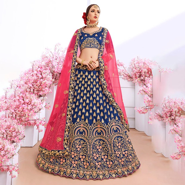 Luxurious Indian Dress Lehenga Choli India for Women Wedding Silk Floss Embroidery...