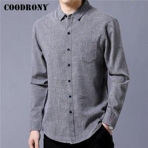 Image 2 - Coodrony 브랜드 남성 셔츠 비즈니스 캐주얼 셔츠 가을 긴 소매 면화 셔츠 남성 의류 camisa masculina 포켓 96093