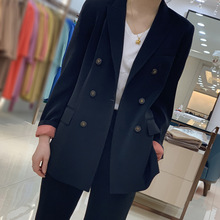 High-end Acetic Acid Double-breasted Straight Cylinder Black Small Suit for Women In Autumn Jacket of 2019