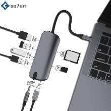 Type C HUB to Multi HUB USB 3.0 HDMI 4K /SD/TF Card Reader/ PD charging Audio /RJ45 Adapter for MacBook Pro type c usb HUB all in 1 usb c adapter type c to hdmi vga converter usb hub with sd tf card reader pd charging rj45 adapter for macbook