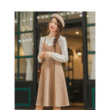 INMAN Winter Retro Elegant Split Color Slits A-line Defined Waist Sleeveless Women Dress